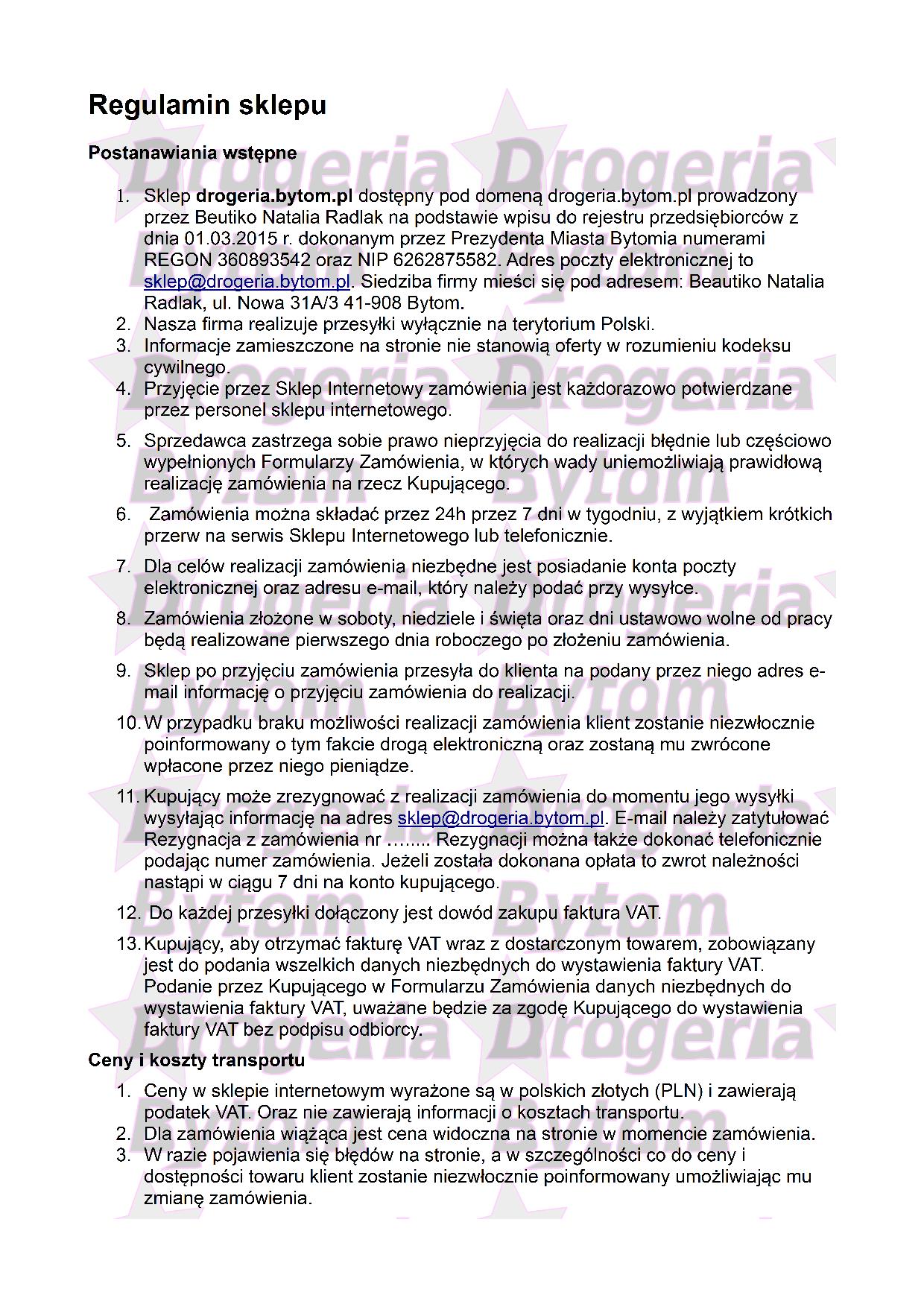 Regulamin część nr 1